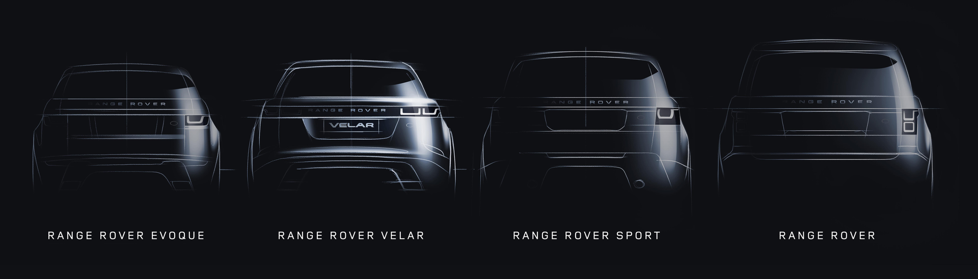Range Rover Line Up with Velar between Evoque and Sport
