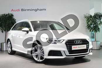 Audi A3 35 TFSI S Line 5dr S Tronic in White at Birmingham Audi