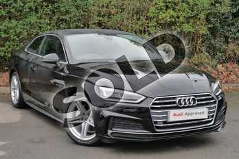 Audi A5 Diesel 2.0 TDI Ultra S Line 2dr S Tronic in Myth Black Metallic at Worcester Audi