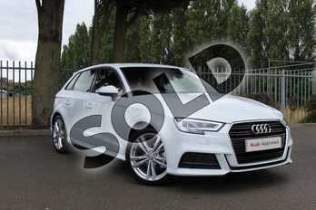 Audi A3 Diesel 30 TDI 116 S Line 5dr S Tronic in Glacier White Metallic at Coventry Audi