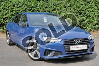 Audi A4 40 TDI Quattro Black Edition 4dr S Tronic in Ascari Blue Metallic at Worcester Audi