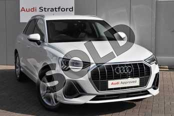 Audi Q3 35 TFSI S Line 5dr in Glacier White Metallic at Stratford Audi