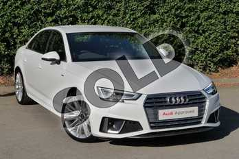 Audi A4 40 TFSI S Line 4dr S Tronic in Glacier White Metallic at Worcester Audi
