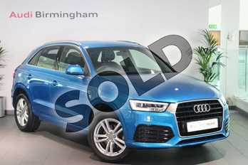 Audi Q3 1.4T FSI S Line 5dr in Hainan blue, metallic at Birmingham Audi