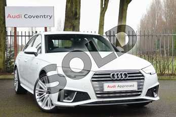Audi A4 40 TFSI S Line 4dr S Tronic in Glacier White Metallic at Coventry Audi
