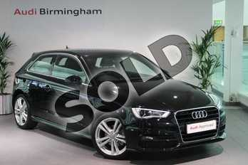 Audi A3 1.4 TFSI 150 S Line 3dr (Nav) in Mythos Black, metallic at Birmingham Audi