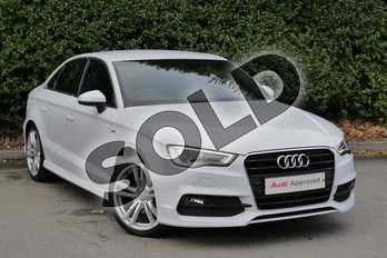 Audi A3 1.4 TFSI 150 S Line 4dr (Nav) in Glacier White, metallic at Worcester Audi