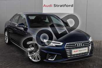 Audi A4 35 TFSI S Line 4dr in Navarra Blue Metallic at Stratford Audi