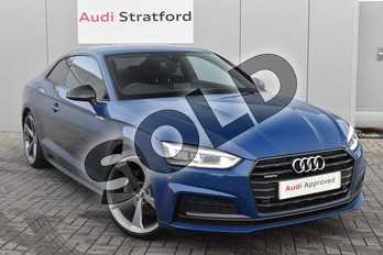 Audi A5 Diesel 40 TDI Quattro Black Edition 2dr S Tronic in Ascari Blue Metallic at Stratford Audi