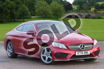 Mercedes-Benz C Class Diesel C250d AMG Line Premium Plus 2dr Auto in designo hyacinth red metallic at Mercedes-Benz of Boston
