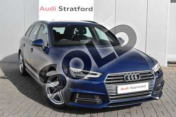 Audi A4 2.0 TDI 190 S Line 5dr in Scuba Blue Metallic at Stratford Audi