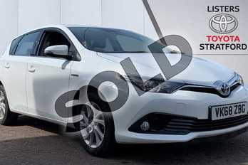 Toyota Auris 1.8 Hybrid Icon Tech TSS 5dr CVT in White at Listers Toyota Stratford-upon-Avon