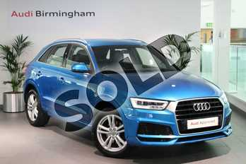 Audi Q3 1.4T FSI S Line Edition 5dr in Hainan blue, metallic at Birmingham Audi
