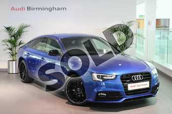 Audi A5 2.0 TDI 190 Quattro Black Edition Plus 5dr (5st) in Sepang Blue Pearlescent at Birmingham Audi
