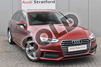 Audi A4 2.0 TDI S Line 5dr S Tronic in Matador Red Metallic at Stratford Audi
