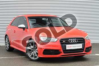 Audi A3 S3 TFSI Quattro 3dr S Tronic in Misano Red, pearl effect at Coventry Audi