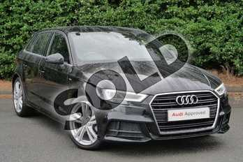 Audi A3 30 TDI 116 S Line 5dr S Tronic in Myth Black Metallic at Worcester Audi