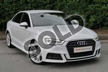 Audi A3 2.0 TDI S Line 4dr in Glacier White Metallic at Worcester Audi