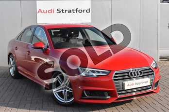 Audi A4 2.0T FSI S Line 4dr S Tronic in Tango Red, metallic at Stratford Audi