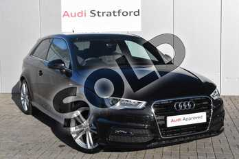 Audi A3 1.4 TFSI 150 S Line 3dr (Nav) in Mythos Black, metallic at Stratford Audi
