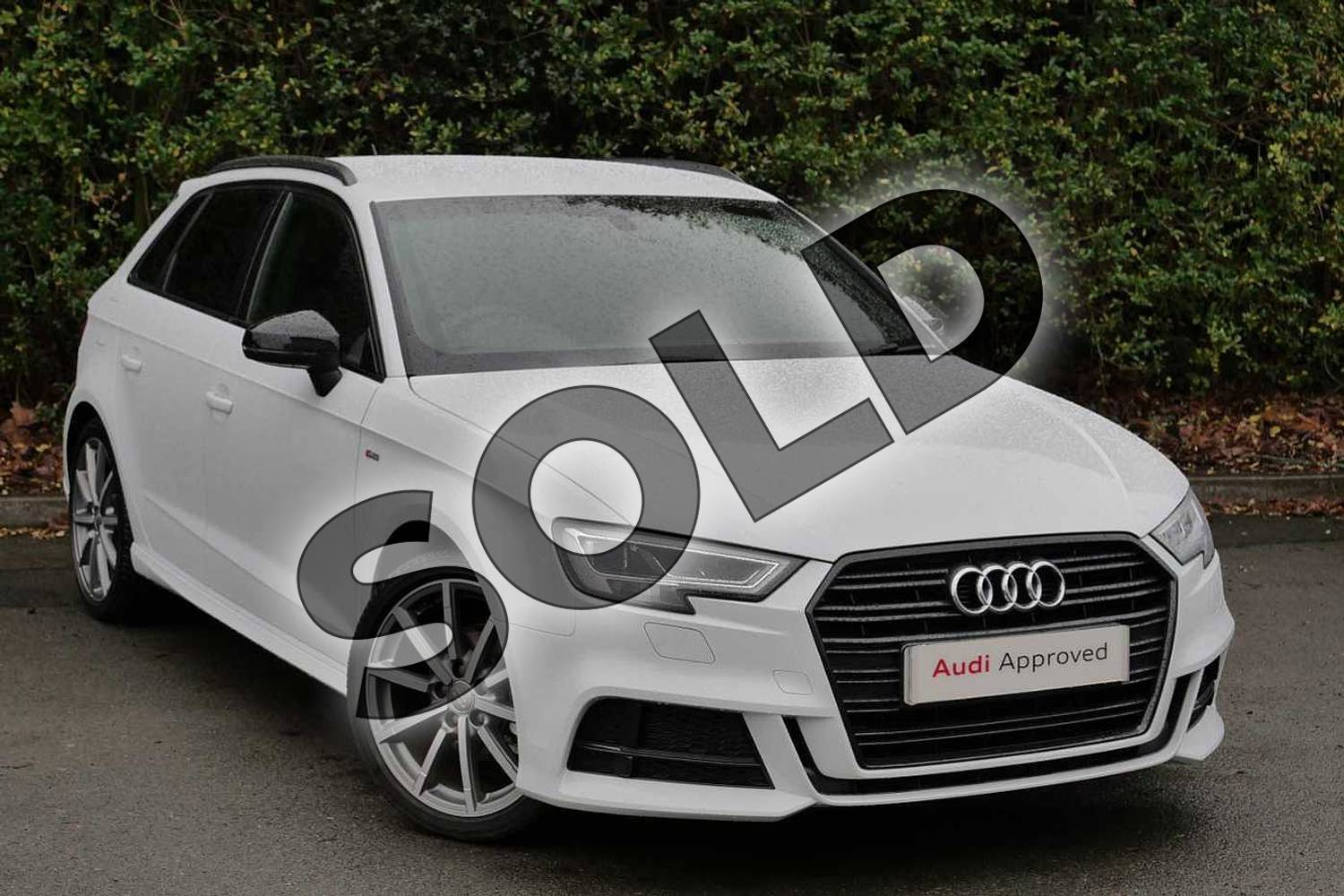 2018 Audi A3 Diesel Sportback Diesel 30 TDI 116 Black Edition 5dr in Glacier White Metallic at Worcester Audi