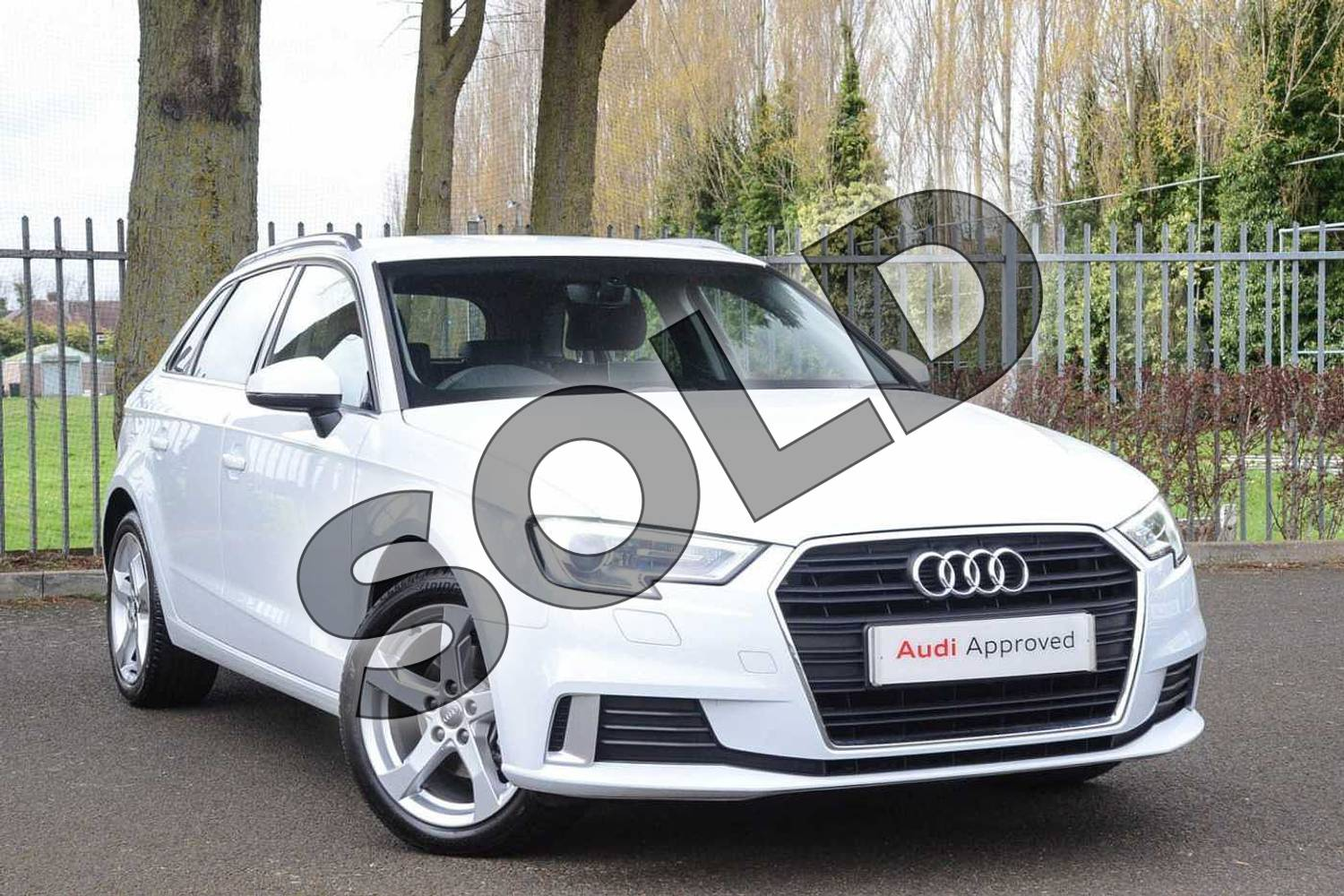 2018 Audi A3 Sportback 35 TFSI Sport 5dr S Tronic in Glacier White Metallic at Coventry Audi