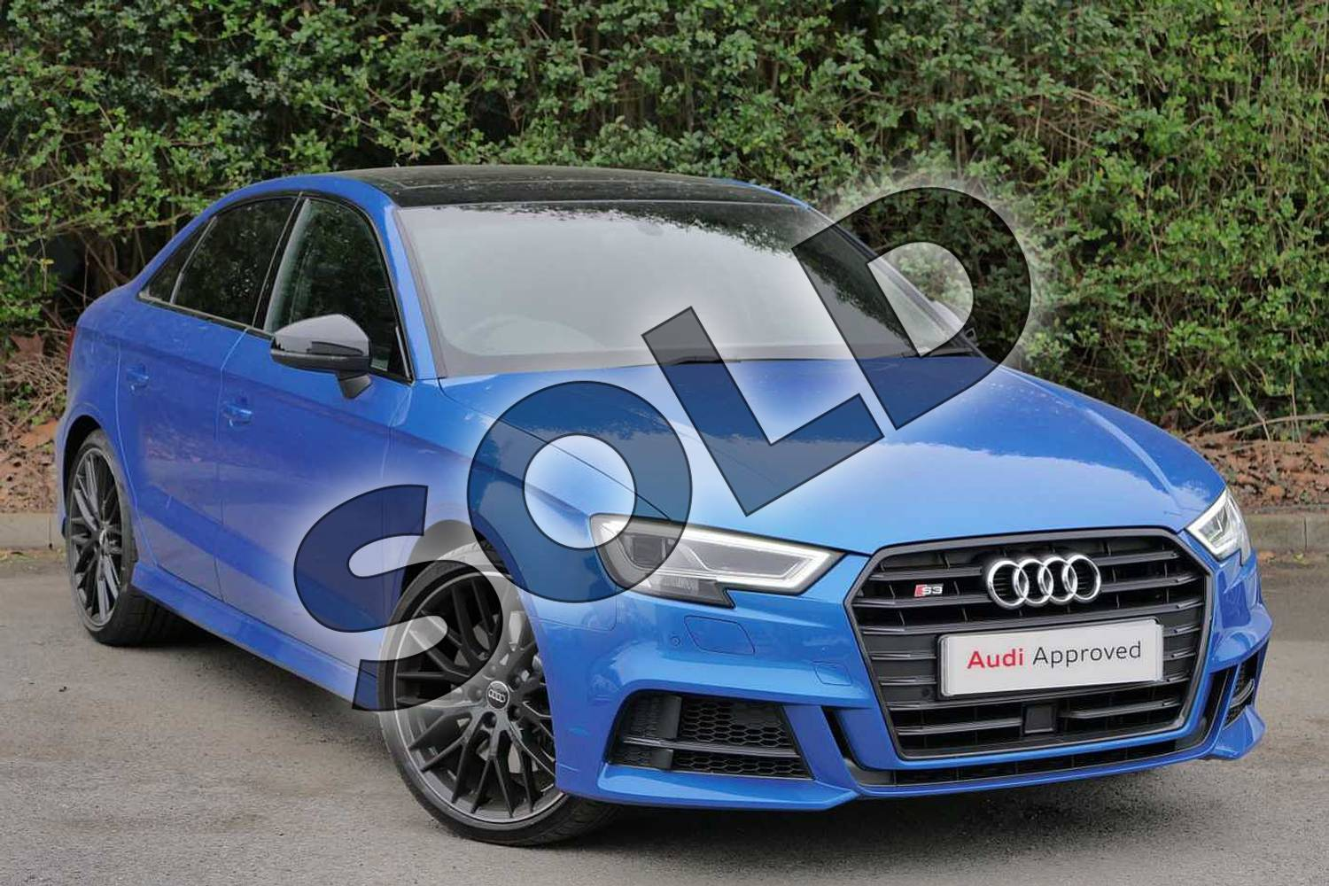 2019 Audi A3 Saloon S3 TFSI 300 Quattro Black Edition 4dr S Tronic in Ara Blue Crystal at Worcester Audi
