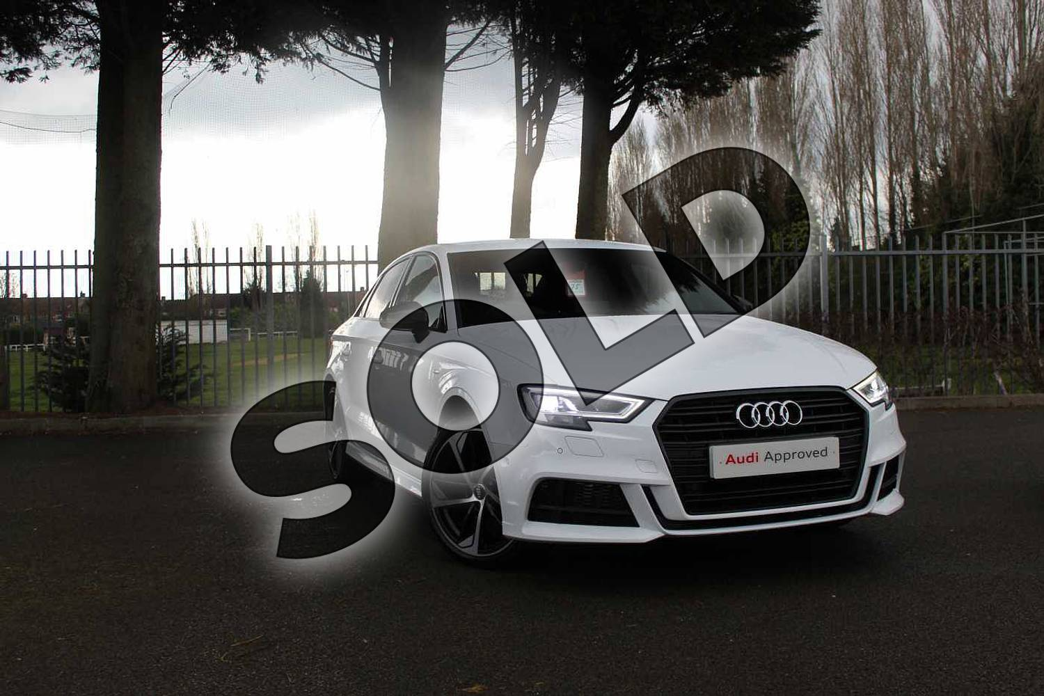 2019 Audi A3 Diesel Saloon Diesel 30 TDI 116 Black Edition 4dr in Ibis White at Coventry Audi