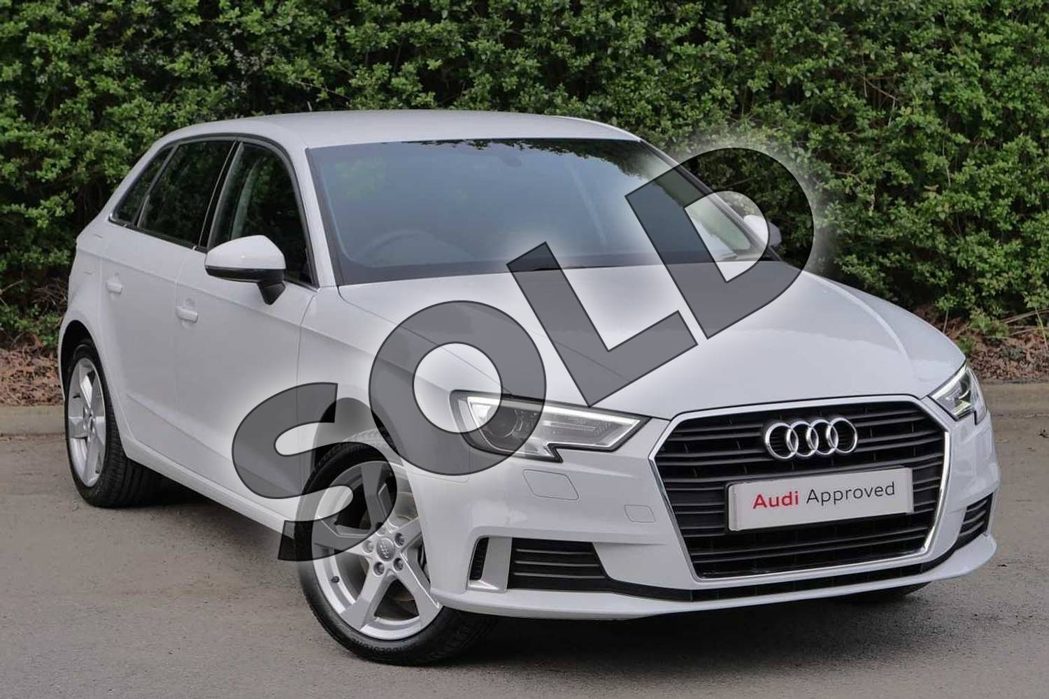 2019 Audi A3 Sportback 35 TFSI Sport 5dr in Glacier White Metallic at Worcester Audi