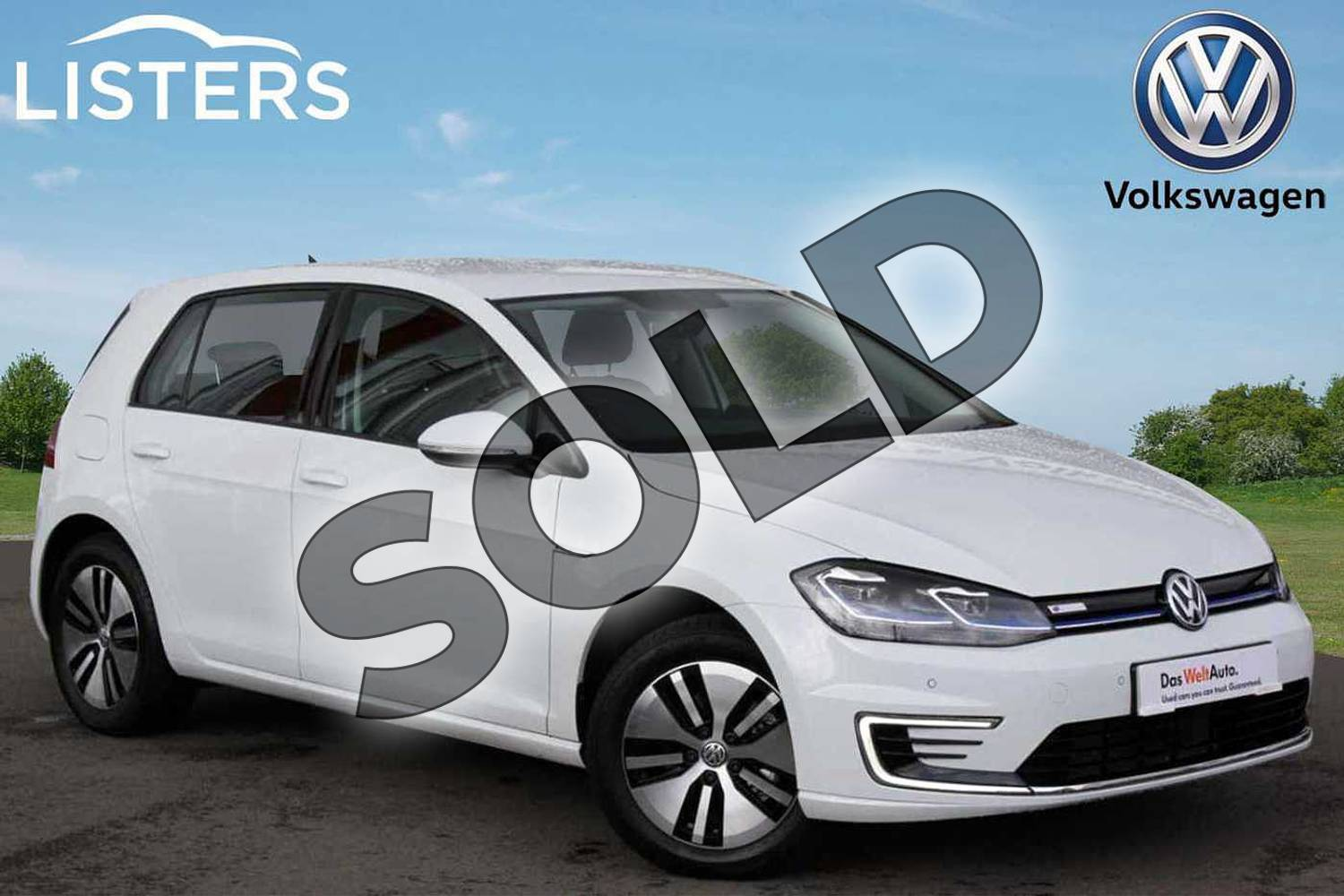 2019 Volkswagen Golf Hatchback 99kW e-Golf 35kWh 5dr Auto in Pure white at Listers Volkswagen Nuneaton