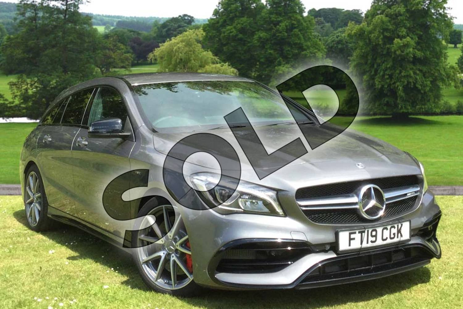 2019 Mercedes-Benz CLA Class AMG Shooting Brake CLA 45 Night Edition 4Matic 5dr Tip Auto in mountain grey metallic at Mercedes-Benz of Grimsby