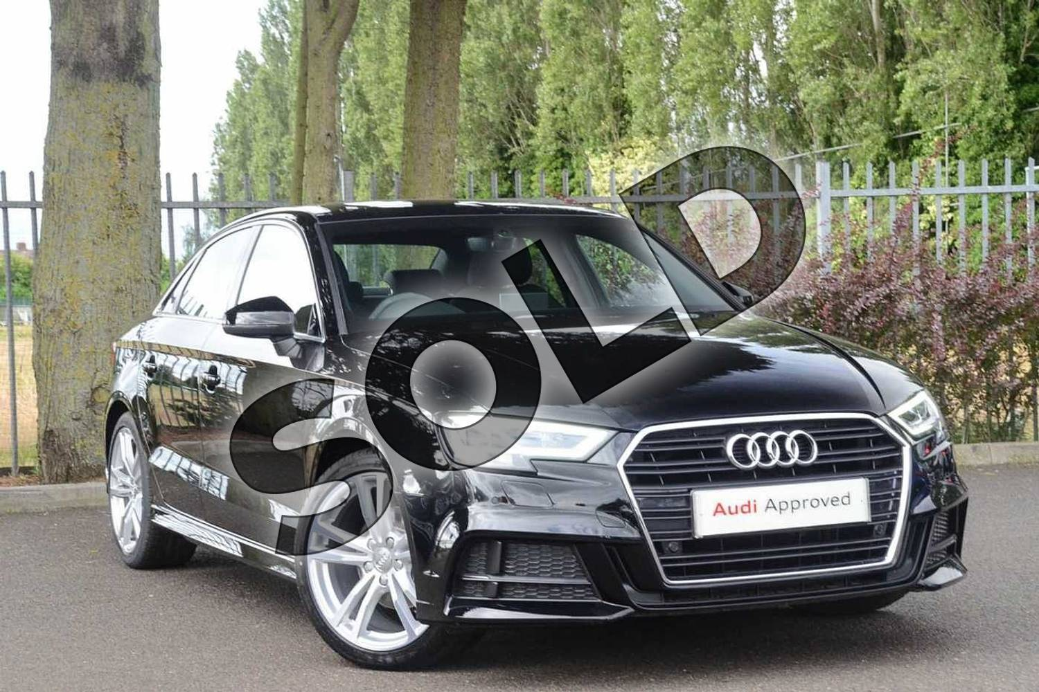 2019 Audi A3 Saloon 30 TFSI S Line 4dr S Tronic in Brilliant Black at Coventry Audi