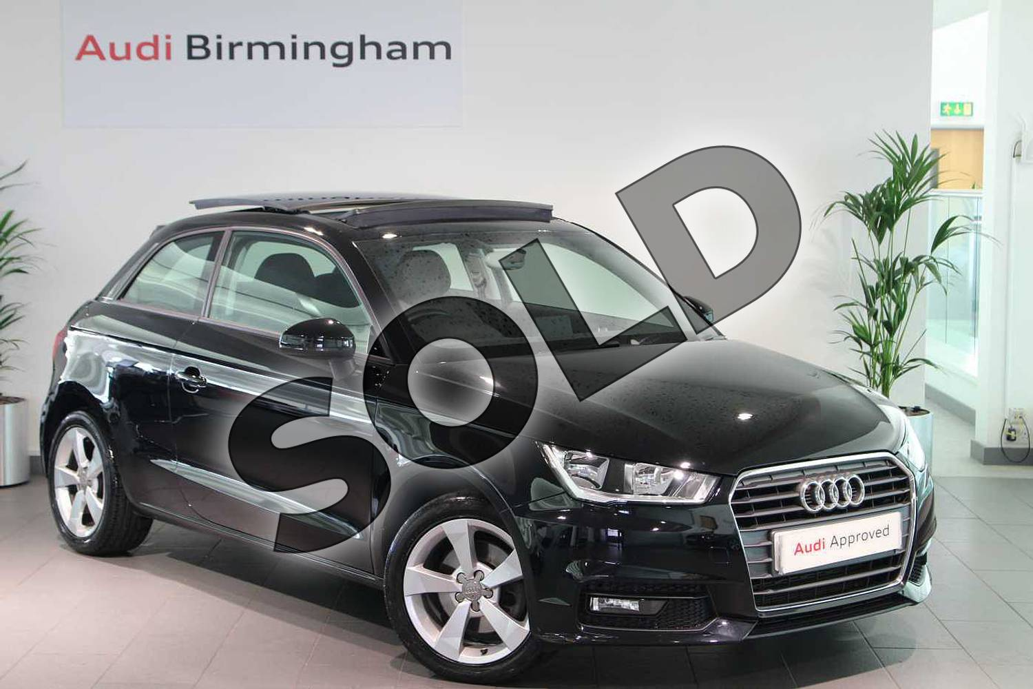 2015 Audi A1 Hatchback 1.4 TFSI Sport 3dr S Tronic in Brilliant black at Birmingham Audi