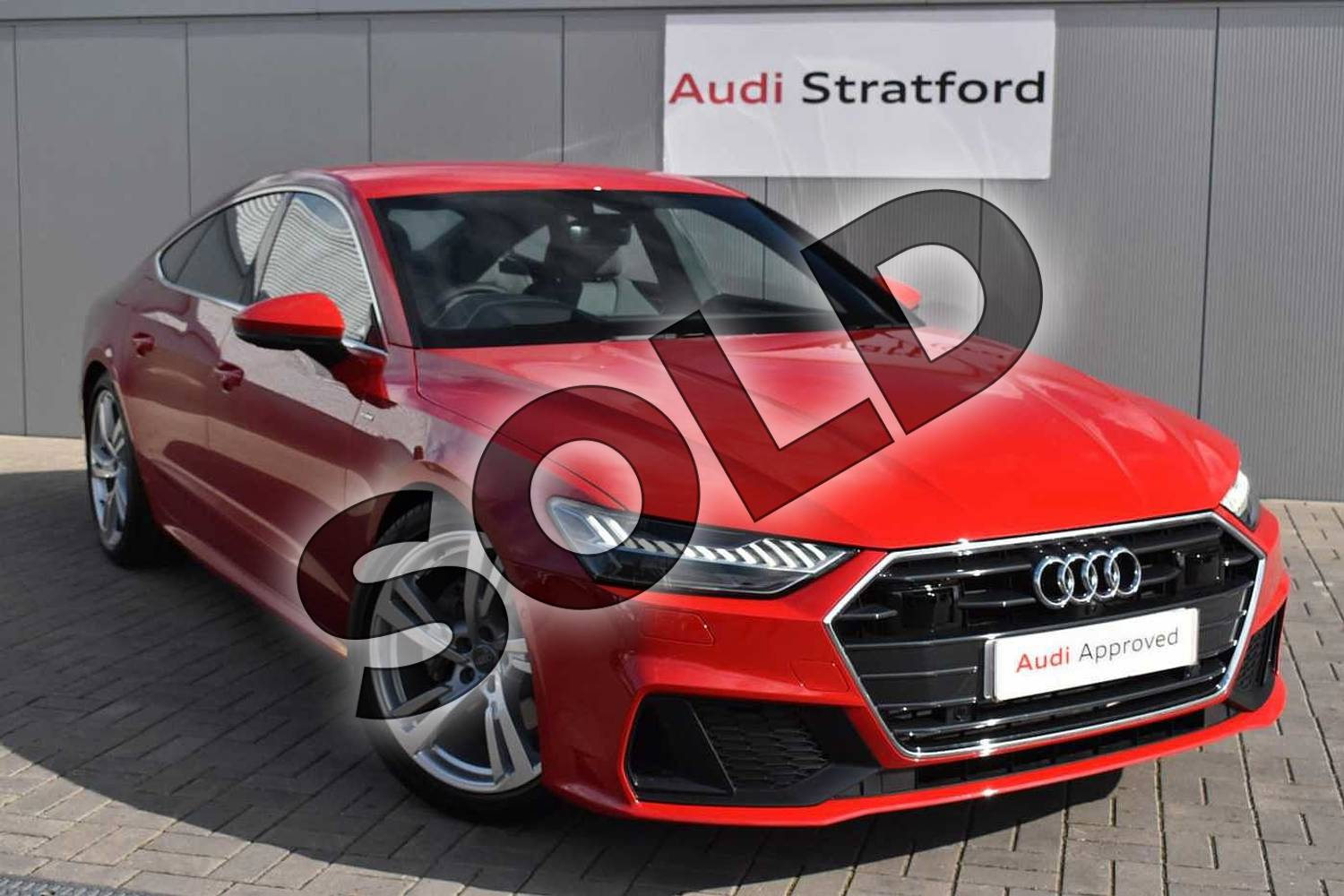 2019 Audi A7 Sportback 45 TFSI S Line 5dr S Tronic (Comfort+Sound) in Tango Red Metallic at Stratford Audi