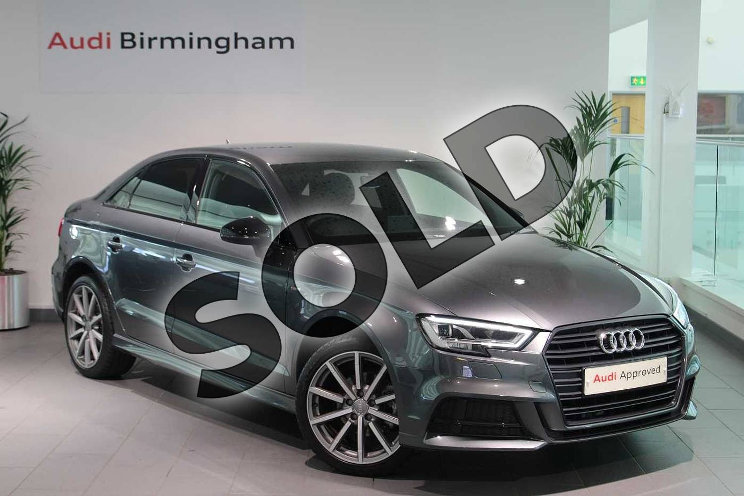 2018 Audi A3 Saloon Special Editions Special Editions 1.6 TDI 116 Black Edition 4dr in Daytona Grey Pearlescent at Birmingham Audi
