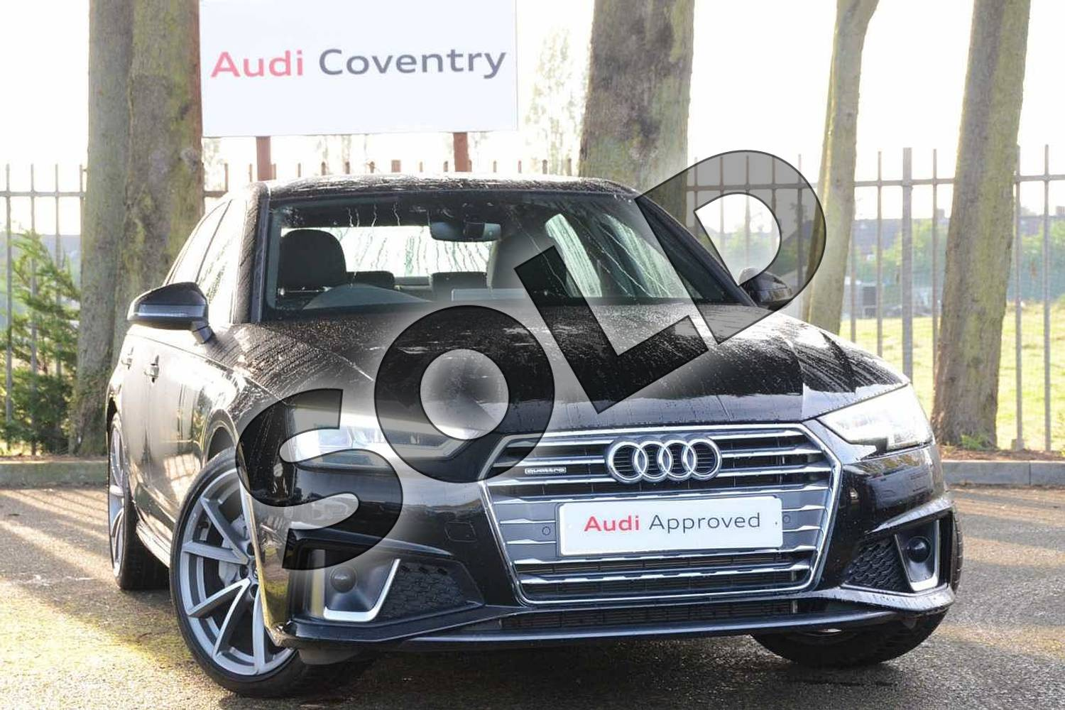 2019 Audi A4 Diesel Saloon 40 TDI Quattro S Line 4dr S Tronic in Myth Black Metallic at Coventry Audi