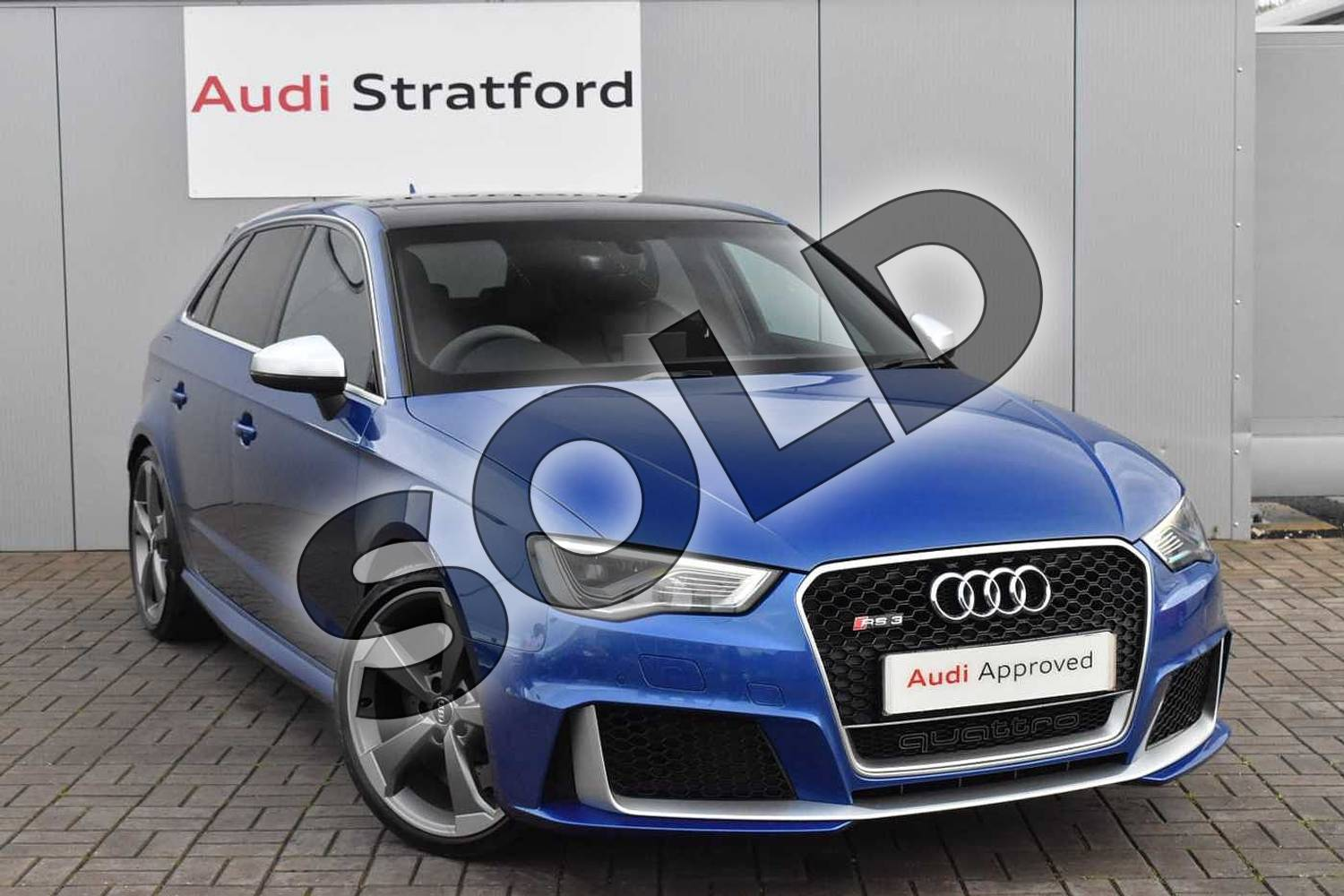 2016 Audi RS 3 Sportback RS 3 2.5 TFSI RS 3 Quattro 5dr S Tronic (Nav) in Sepang Blue Pearlescent at Stratford Audi