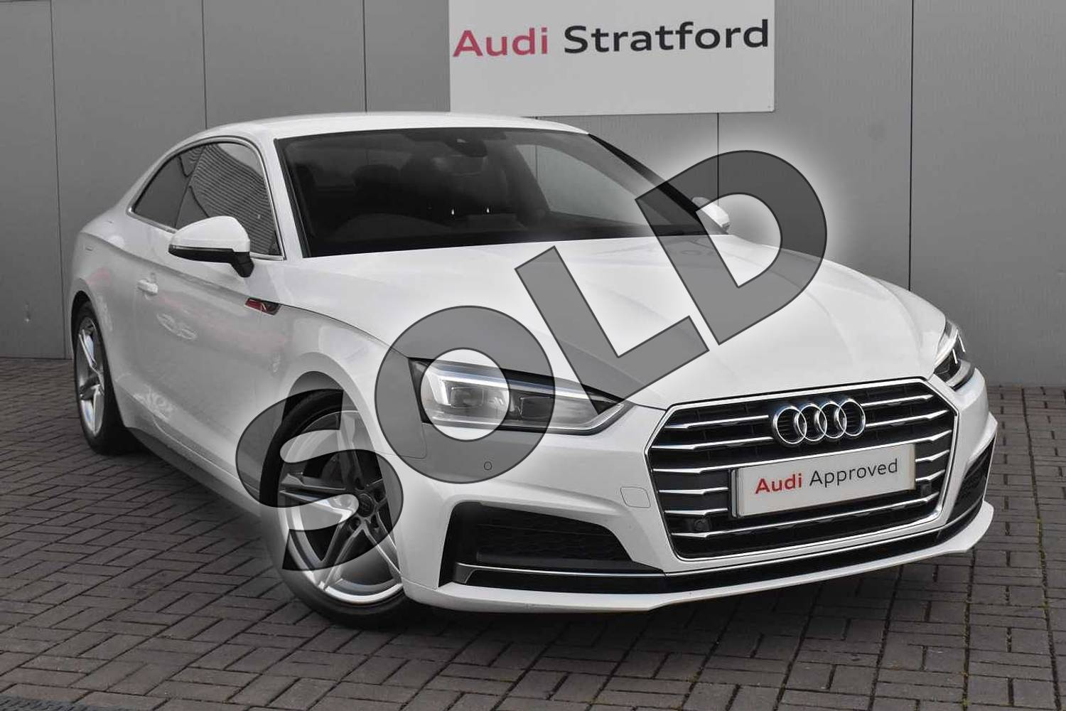 2018 Audi A5 Diesel Coupe 2.0 TDI S Line 2dr S Tronic in Ibis White at Stratford Audi