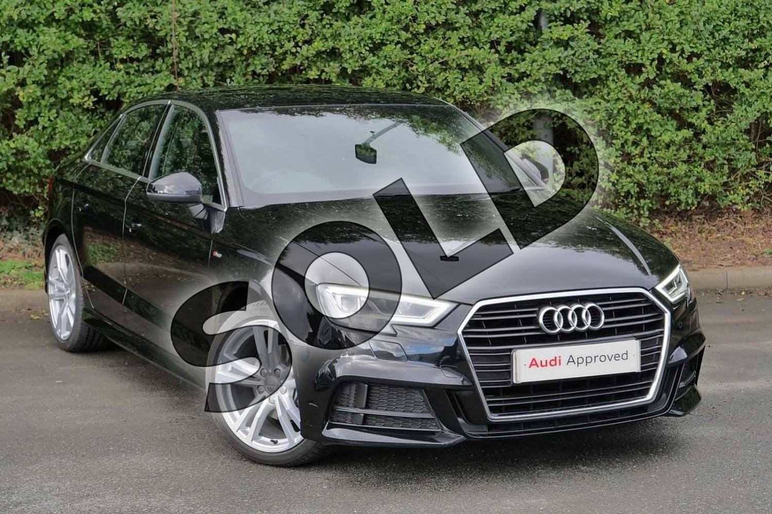 2020 Audi A3 Diesel Saloon 35 TDI S Line 4dr in Myth Black Metallic at Worcester Audi