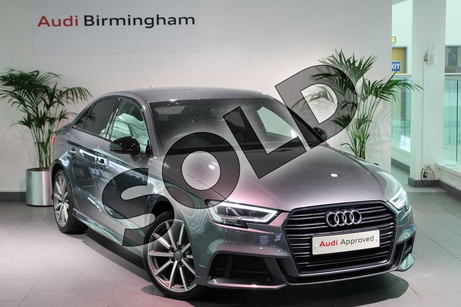 2018 Audi A3 Saloon Special Editions 1.0 TFSI Black Edition 4dr in Monsoon Grey Metallic at Birmingham Audi