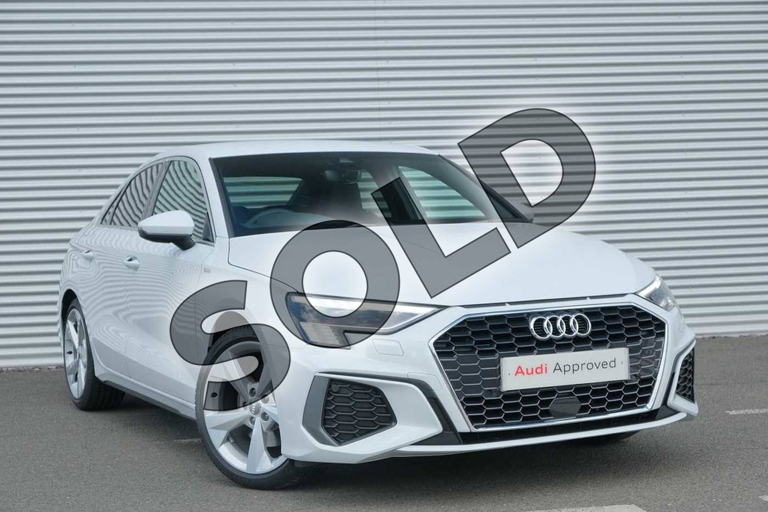 2020 Audi A3 Saloon 35 TFSI S line 4dr in Glacier White Metallic at Coventry Audi