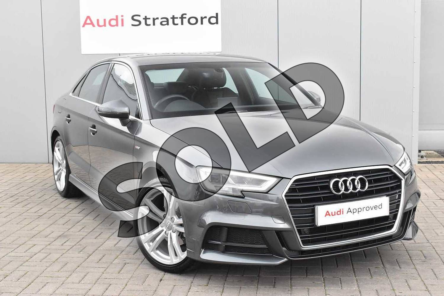 2016 Audi A3 Saloon 1.4 TFSI S Line 4dr in Daytona Grey Pearlescent at Stratford Audi