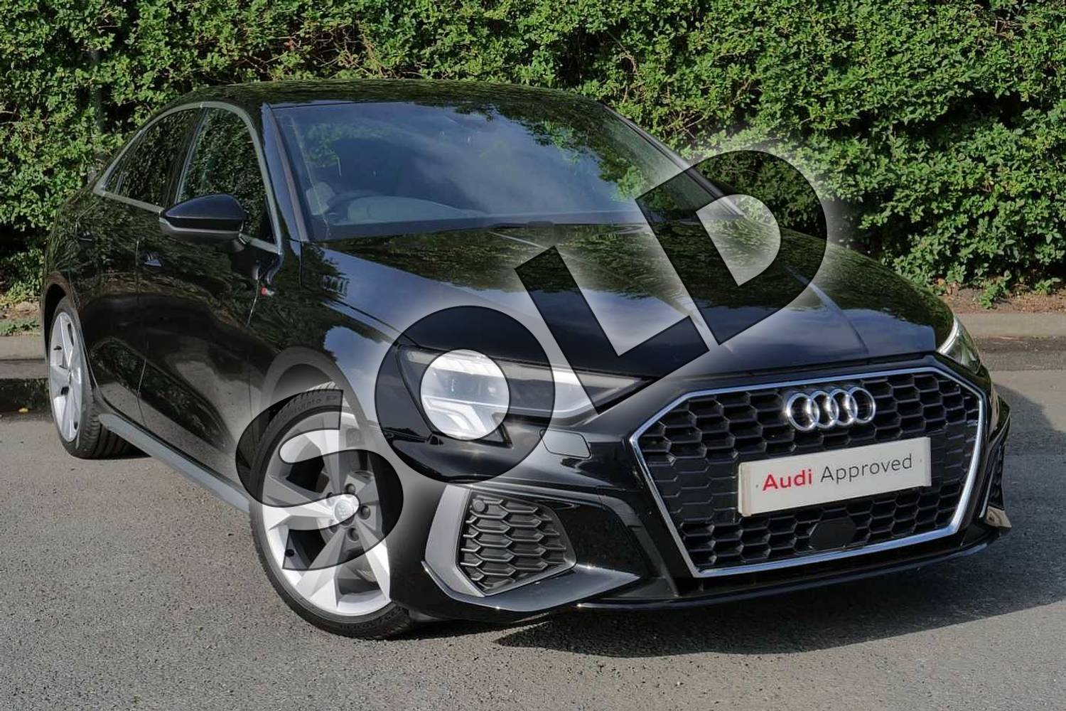 2020 Audi A3 Saloon 35 TFSI S line 4dr S Tronic in Myth Black Metallic at Worcester Audi