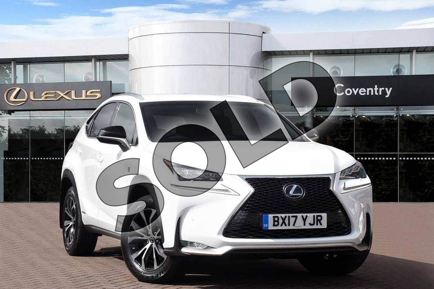 2017 Lexus NX300h F-SPORT Premium Navigation Red Heated Leather Seat in F Sport White at Lexus Coventry