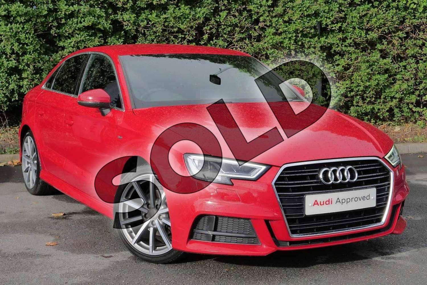 2016 Audi A3 Saloon 1.4 TFSI S Line 4dr S Tronic in Tango Red Metallic at Worcester Audi