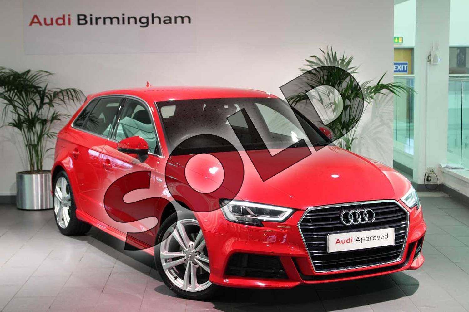 2016 Audi A3 Sportback 1.4 TFSI S Line 5dr in Tango Red Metallic at Birmingham Audi