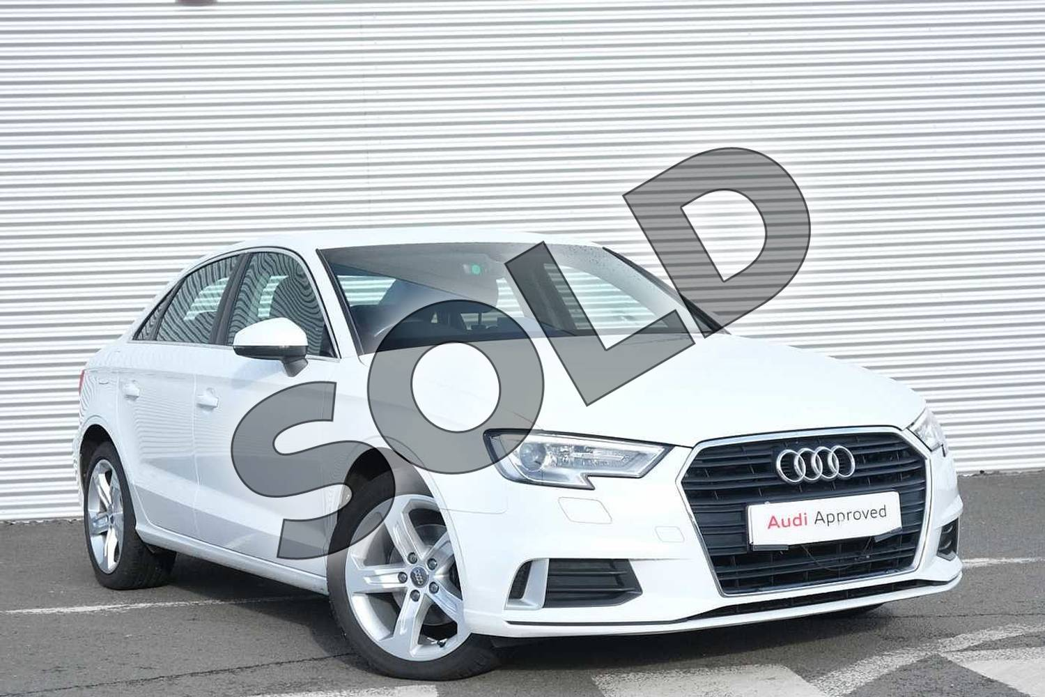 2017 Audi A3 Diesel Saloon 2.0 TDI Sport 4dr in Glacier White Metallic at Coventry Audi