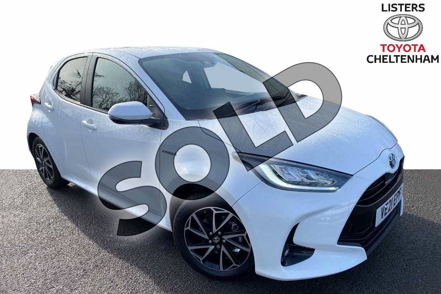 2021 Toyota Yaris Hatchback 1.5 Hybrid Design 5dr CVT in White at Listers Toyota Cheltenham