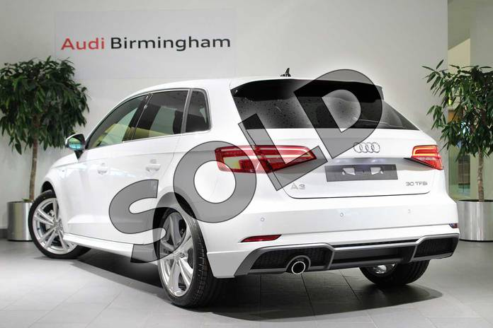 Image three of this 2018 Audi A3 Sportback 30 TFSI 116 S Line 5dr in Glacier White Metallic at Birmingham Audi