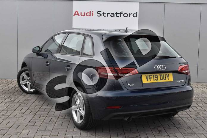Image three of this 2019 Audi A3 Diesel Sportback Diesel 30 TDI 116 SE Technik 5dr S Tronic in Cosmos Blue Metallic at Stratford Audi